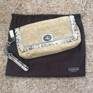 Coach straw clutch/wrist bag with snakeskin trim
